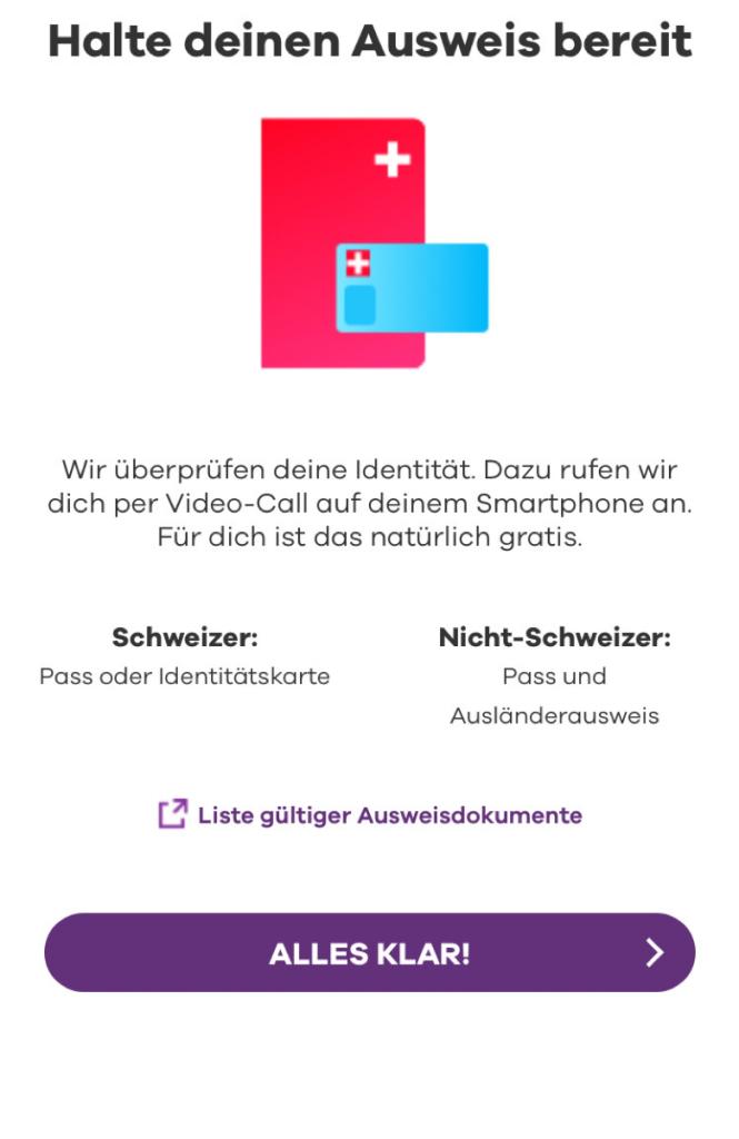 Verifikation mit der Identitätskarte direkt über die App.