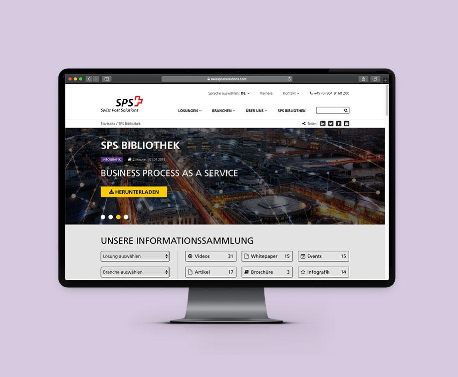 Desktop Screen mit Ansicht der Landingpage der Swiss Post Solutions.
