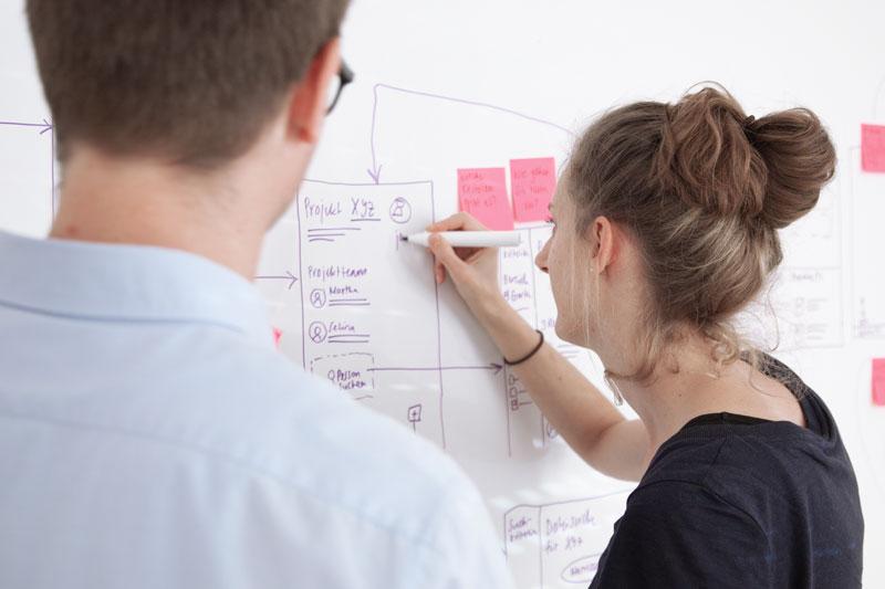 Stefan Wanner und Noëlle Rosenberg stehen mit dem Gesicht zum Witheboard und diskutieren ein Konzept. Noëlle hat ein Stift in der Hand und schreibt auf Witheboard.