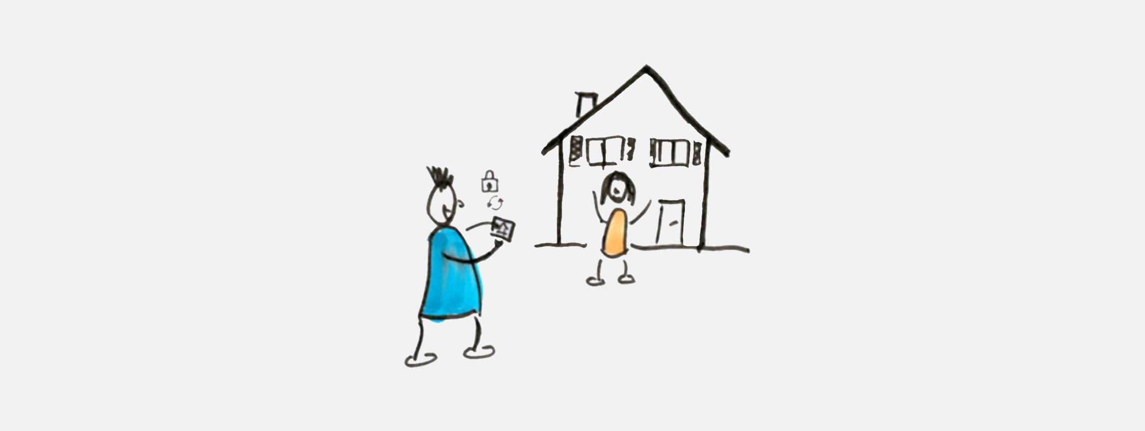 Illustration. Ein Mann fotografiert mit dem Smartphone ein Kind vor einem Einfamilienhaus. Beide Personen lachen und sind fröhlich.