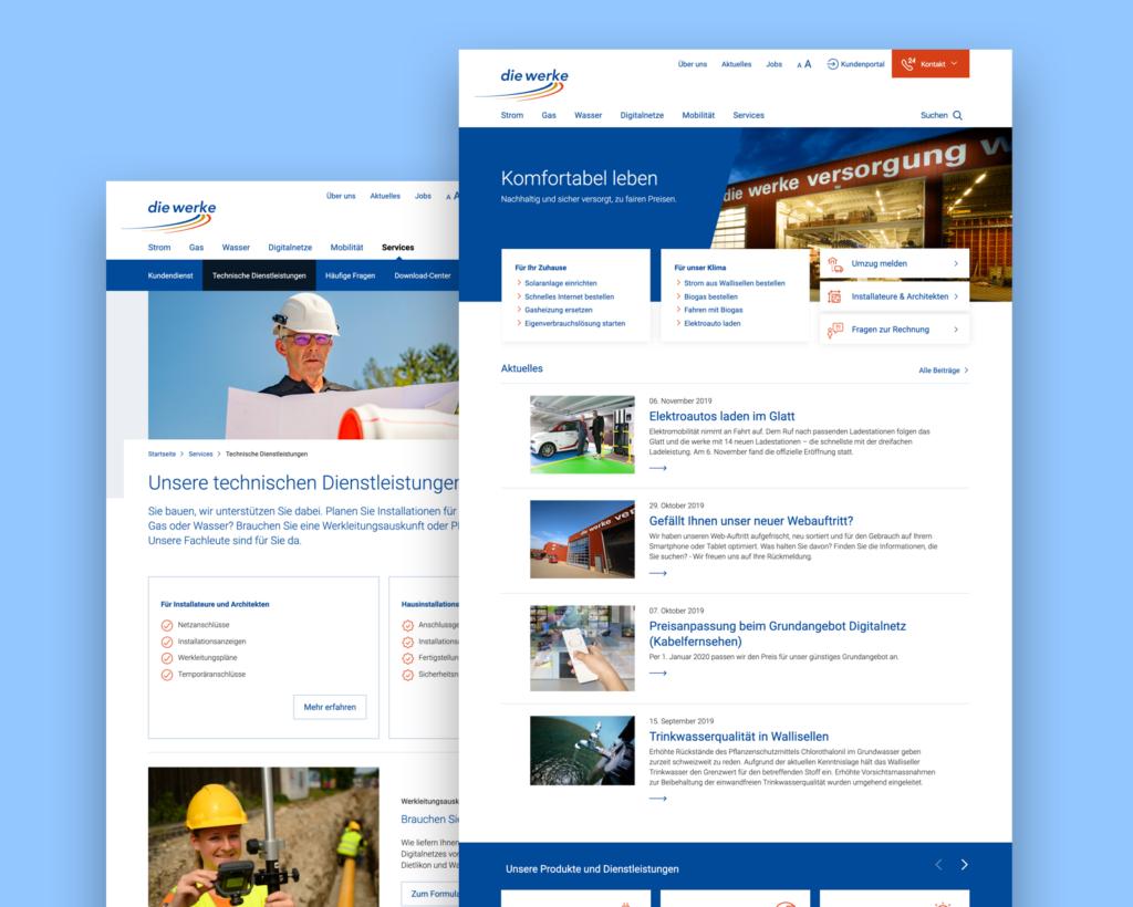 Zwei Screenshots der neuen Website