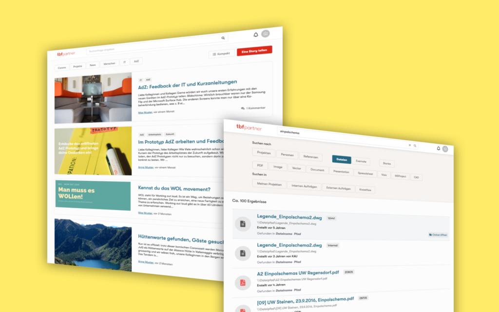 Ein modernes Intranet für TBF + Partner – Moderner Newsfeed und Suchresultatsseite