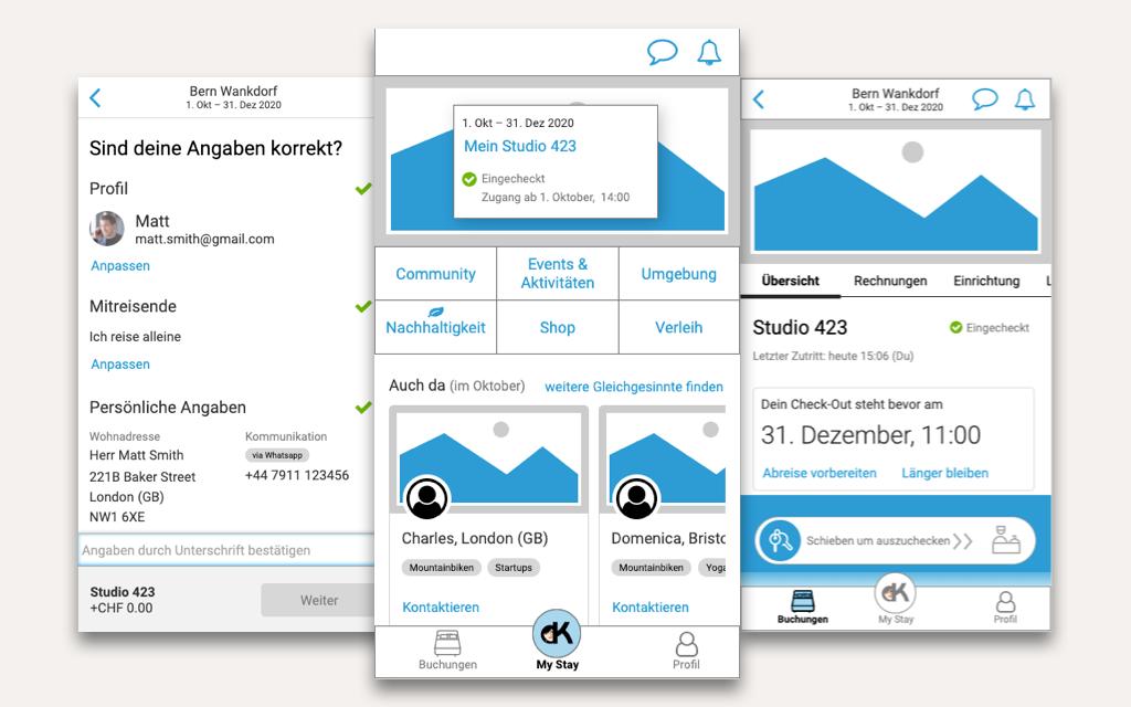 Wireframes des klickbaren Mid-Fi Prototyps der mobilen Hotel-App