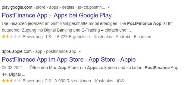 Screen Capture aus Google: Durchschnittliche Bewertungen des User Experience Designs im Google Play und Apple Store