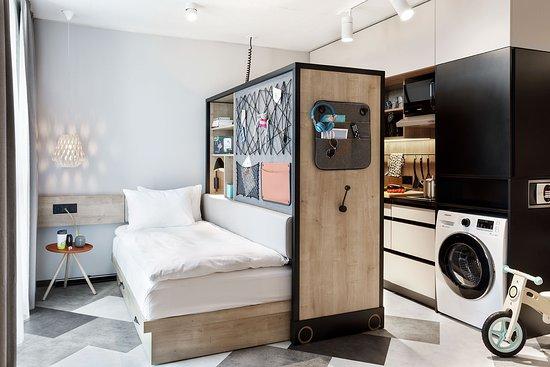 Staykooook Bern Wankdorf Ansicht des flexiblen Zimmeraufbaus