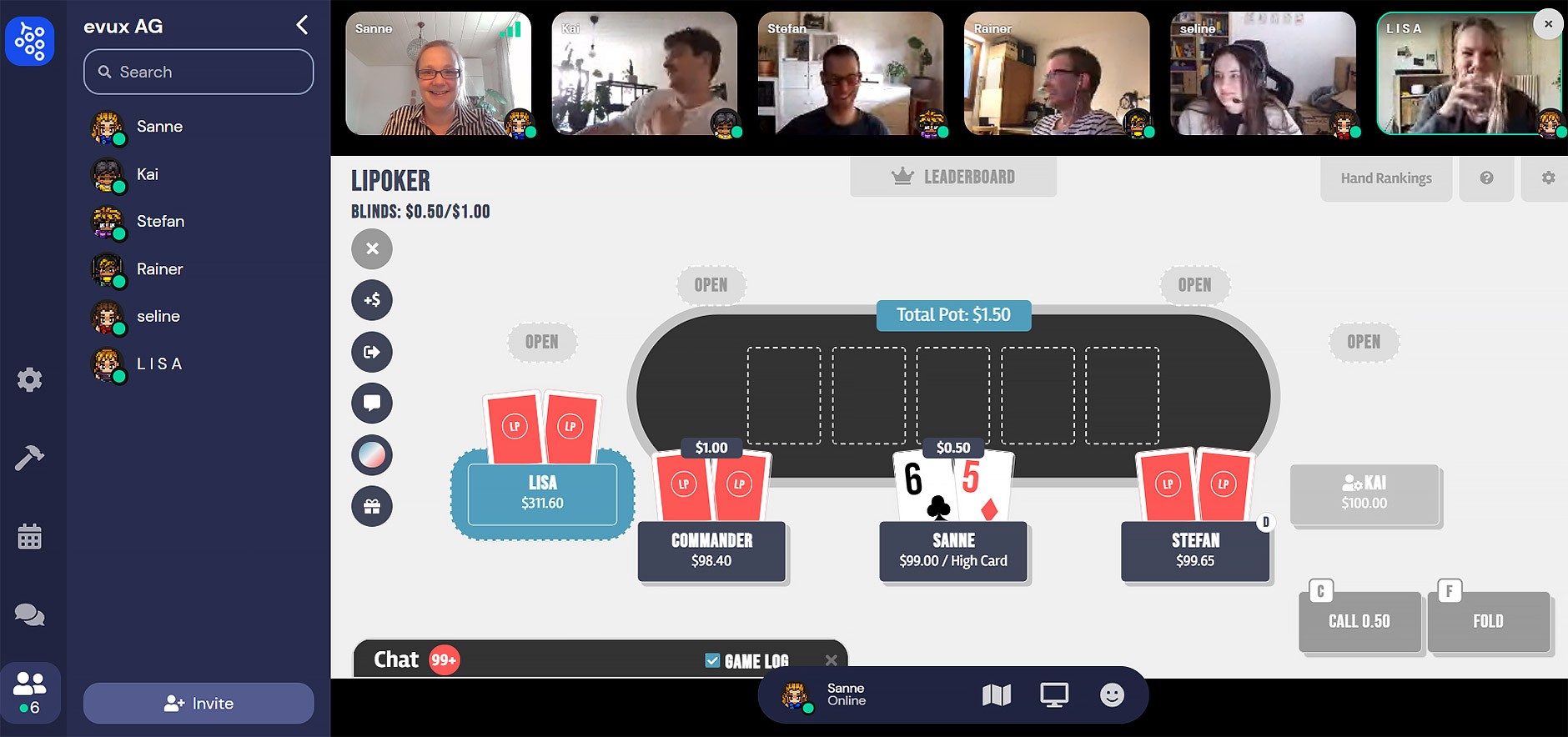 virtuelle Poker-Runde